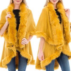 Luxurious Golden Faux Fur Double Layer Cape Coat